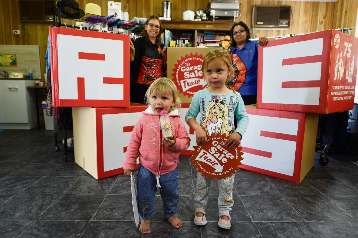 Moorditj Keila co-ordinator Bridgette Michael and chairwoman Dena Gower with her grandchildren Indy (2) and Farrah Yates (3). Picture: Jon Hewson