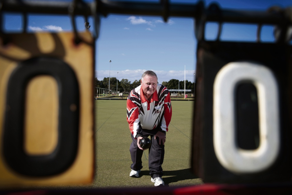 One of Andrew Ritchie's photographs - Ken Perks from Morley Bowling Club.
