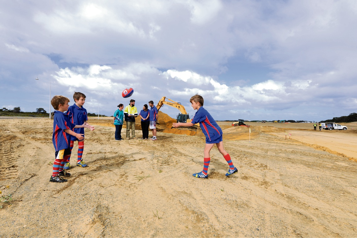 Representatives from local sporting groups are thrilled work has started on the playing fields at Yanchep Active Open Space. Back: Tina Daly (Yanchep Little Athletics), Hamish McLeod (Environmental Industries), Melanie and Jason Glover. Front: Rueben, Griffen and Keanoe Glover (Yanchep District Junior Football Club).