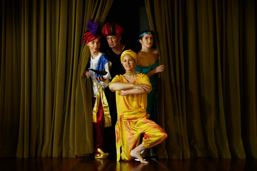 Mirela Ionascu (Aladdin), director Bryce Manning (Abanazar), front Suzanne Croston (Genie) and Ruth Burke (Princess). Picture: Andrew Ritchie.