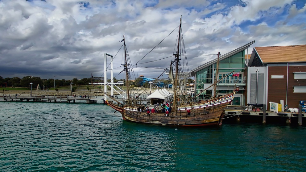 Greenwood College student Nicholas Fantini used his drone to capture a different perspective of the Duyfken at Hillarys Boat Harbour.