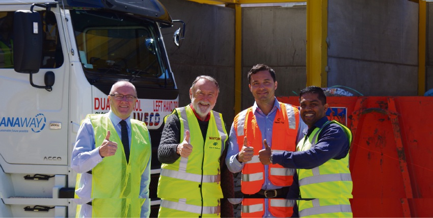 City of Nedlands waste minimisation co-ordinator Chaminda Mendis, Mayor Max Hipkins, West Tip Control managing director Stefan Todorski and Cleanaway Perth metro regional manager Paul Tomkinson launch new waste reduction plan.