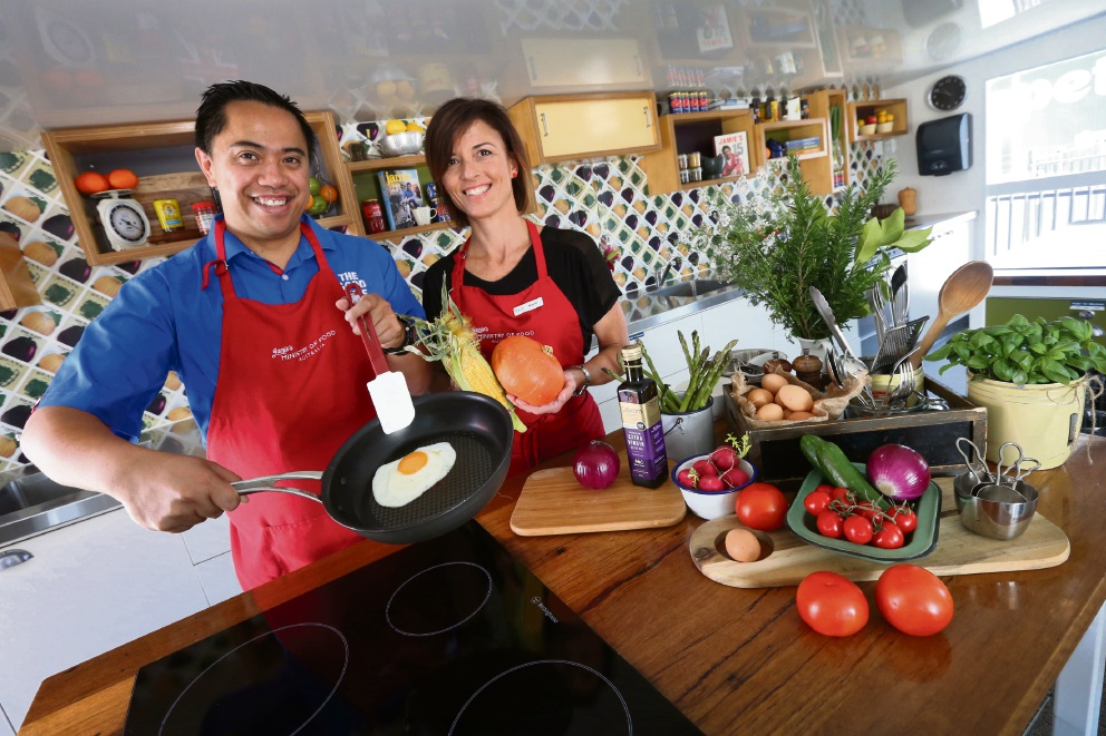 Executive manager of the Good Guys Belmont Josh Rimunui and nutritionist and Jamie's Ministry of Food Mobile Kitchen centre manager Marie Fitzpatrick.