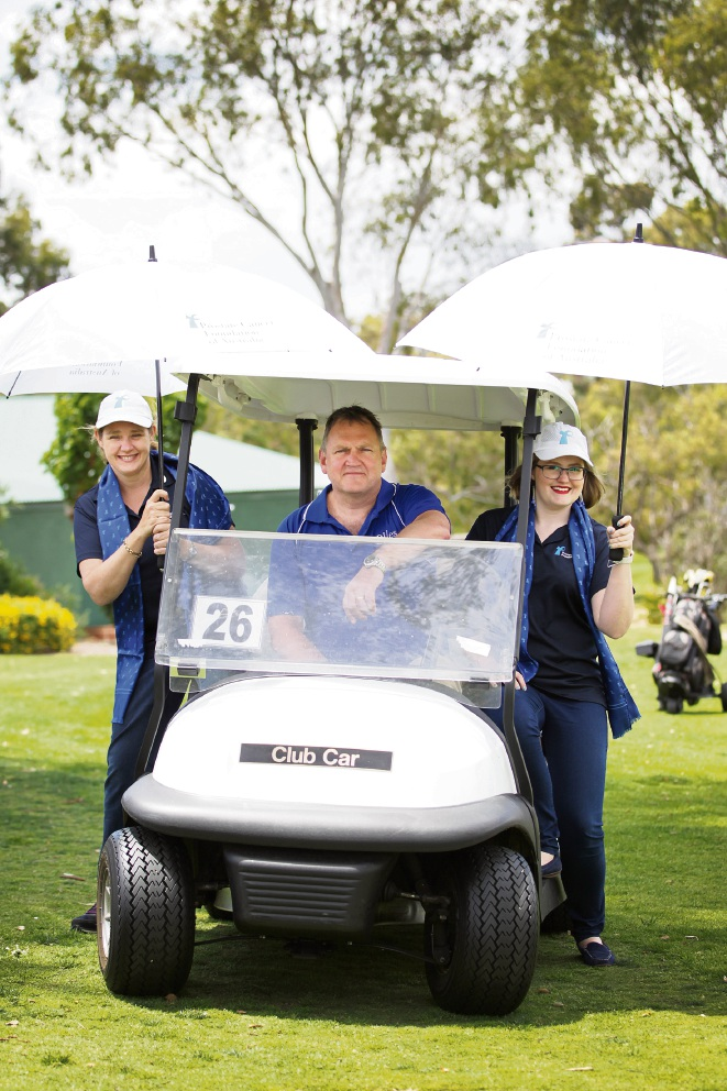 Belinda Katz (PCFA), Jason Giles (Giles Partners) and Amy Ward (PCFA). About 17 teams will ditch the office attire and head out on the green for the sixth annual Rough Rider Rudling Corporate Golf Day at the WA Golf Club in Yokine. Picture: Andrew Ritchie