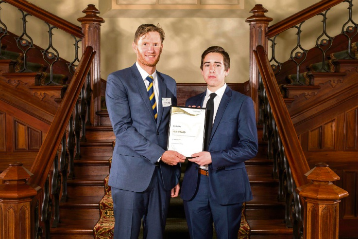 Mandurah Baptist College Year 12 student Ellis Blockley with his mentor and award leader Stefan Aspeling.