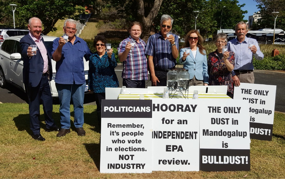 Mandogalup residents at Parliament House during protests against the buffer zone.
