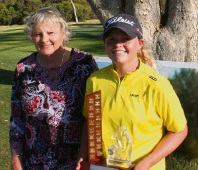 Champ Kirsten Rudgeley with Rockingham President Jenny Kelly. Picture: Graeme Mustow.