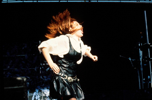 Chrissy Amphlett from Divinyls performs live on stage in Melbourne during the Australian Made tour in January 1987. Picture: Bob King/Redferns/Getty Images