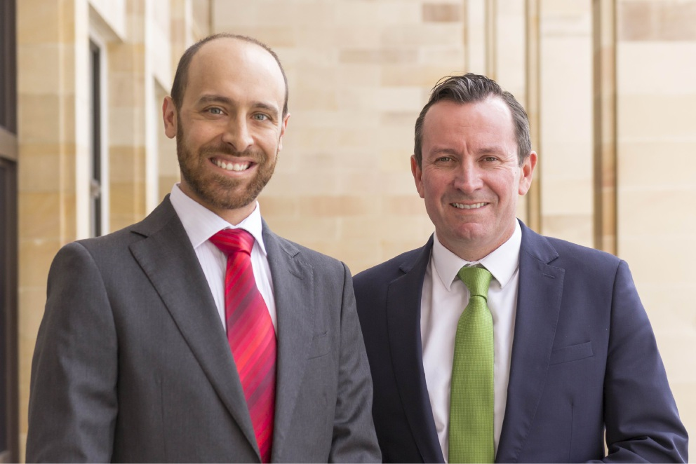 South Perth Labor candidate Michael Voros with WA Labor Leader Mark McGowan.