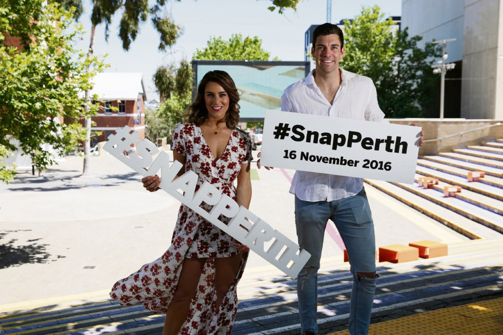 Perth reality television stars Rachael Gouvignon (The Bachelor) and Cam Cranley (The Bachelorette) have thrown their support behind the #SnapPerth 2016 event on November 16 at the Cultural Centre in Northbridge. Picture: Andrew Ritchie.