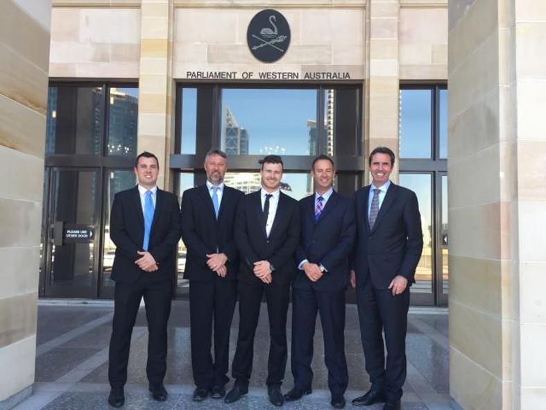 Luke Tedesco, Bill Monaghan, Rohan Kerr, Brett Raponi and Peter Collier dined out at Parliament House.