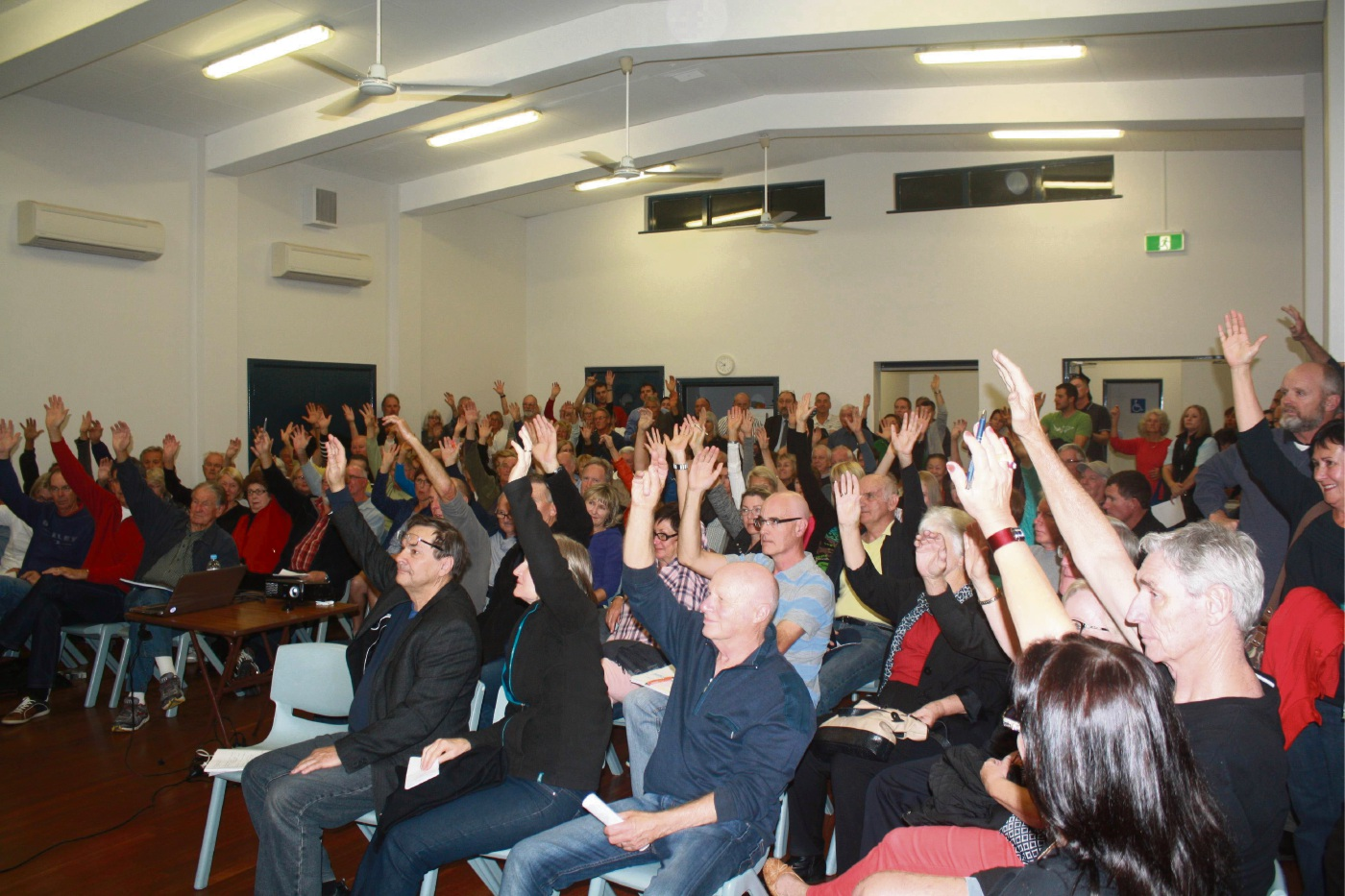 Residents at a Stop Sorrento High Rise community meeting last year voting against the Sorrento Plaza proposal.