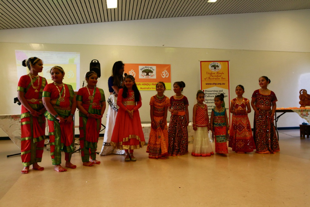 The children who performed at the launch of the Vishva Hindu Parishad WA Chapter in Butler.