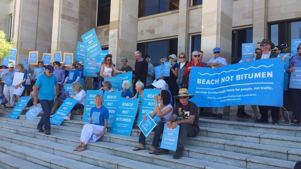 Beach not Bitumen members take protest against road extensions to Parliament House