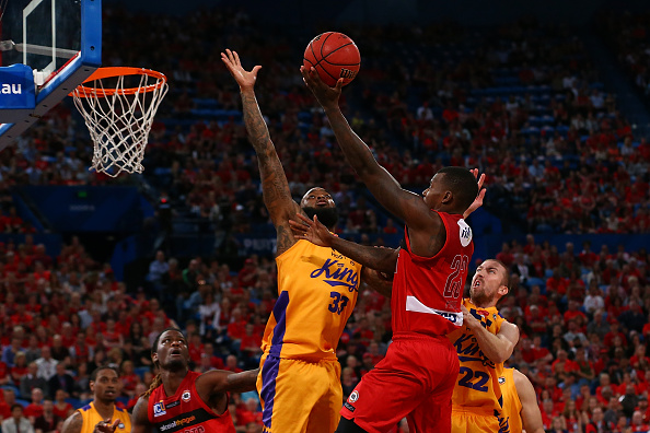 Casey Prather drives to the hoop against Sydney. Picture: Paul Kane/Getty Images
