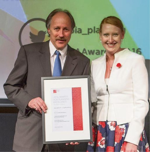Mark Luzi, Shire of Mundaring director of statutory services, with Planning Minister Donna Faragher.