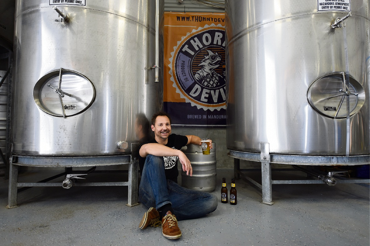 Cape Bouvard Brewing Company director Peter McAppion is  hoping fans will bail him out through his crowdfunding campaign.  Picture: Jon Hewson        d461654