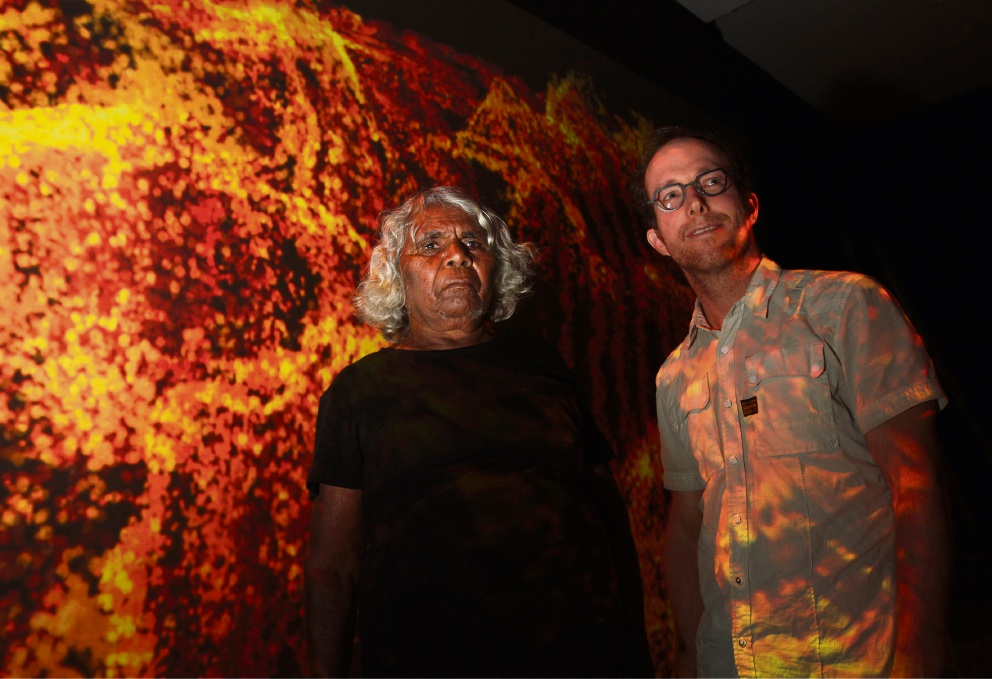 Ngamaru Bidu and Sohan Ariel Hayes at the exhibition.  Picture: Robin Kornet        www.communitypix.com.au   d461619