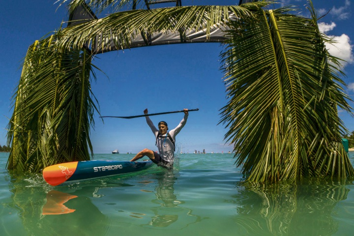 Michael Booth winning the Fiji ISA World SUP Championships last Thursday. Picture: Sean Evans/ISA