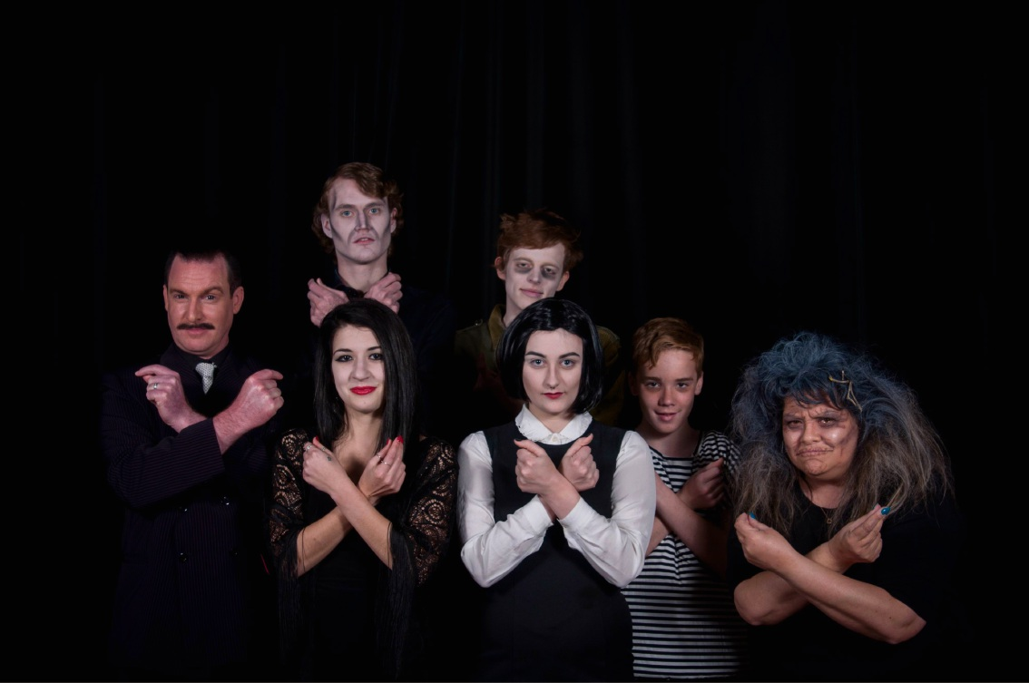 Paul Reed, Holly Denton, Declan Roden, Callum Siegmund-Bant, Rosie McGavock, Charlie Martin and Ruby Reye are appearing in The Addams Family. Picture: Jarrad Sharman