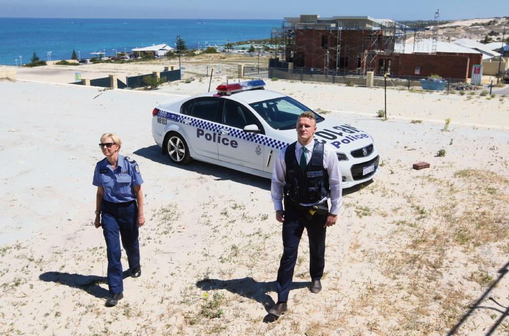 Acting Senior Sergeant Rebecca Mayger and Detective Constable Declan Clancy hope to cut down building site thefts. Picture: Bruce Hunt www.communitypix.com.au d461682