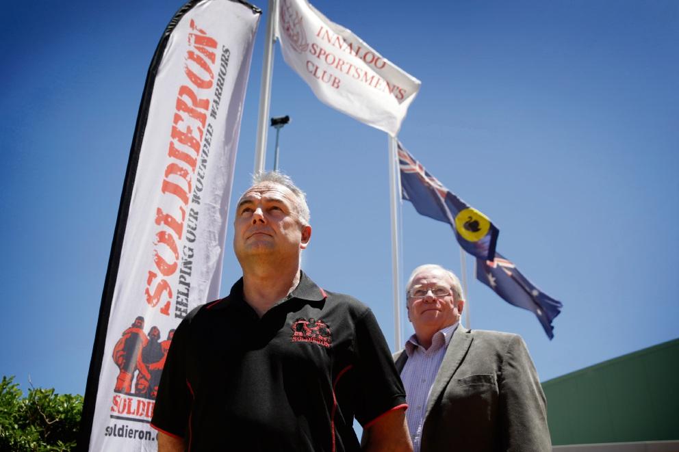 Veteran Andrew Belbin with Innaloo Sports Club manager Paul Stinson. d462263