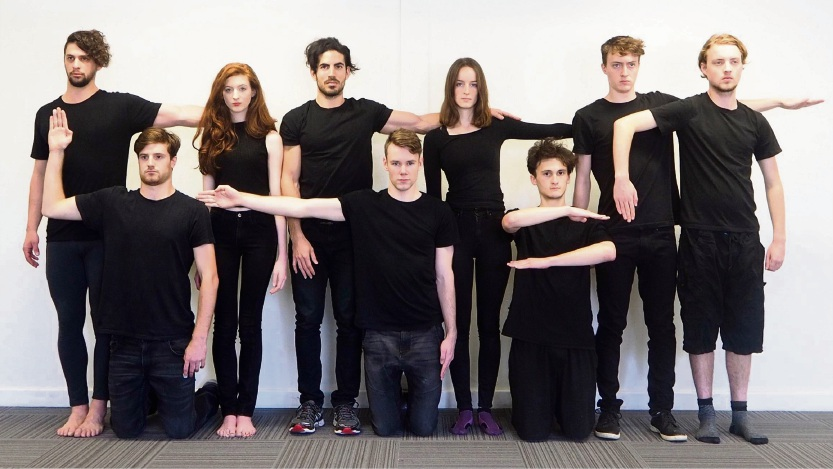 Daniel Moxham, Nicholas Allen, Lauren Thomas, Christian Tomaszewski, Zach Clifford, Grace Chapple, Ben Costantin, Andrew Dunstan and Quintus Olsthoorn play 46 characters in The Brick and The Rose.