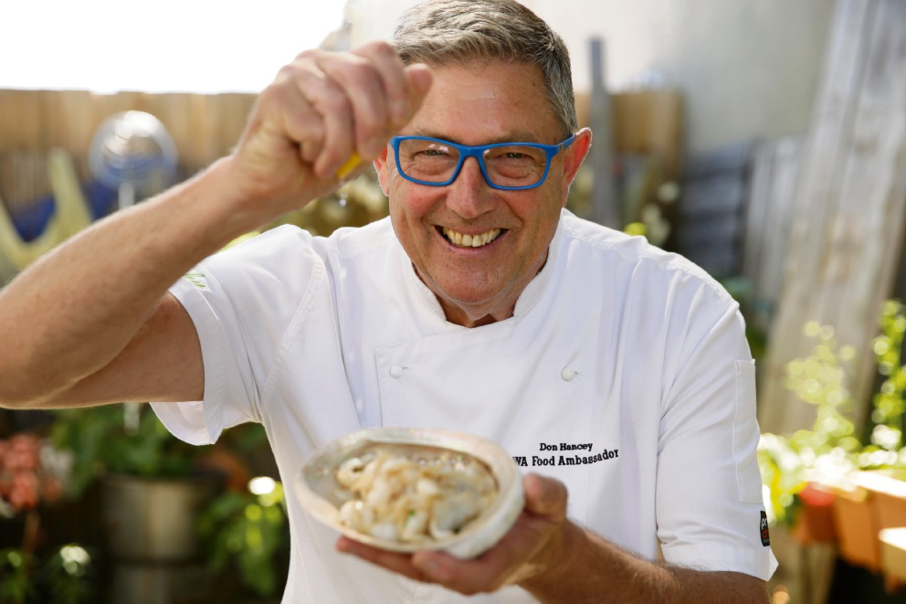 Don Hancey with sautéed abalone. Picture: Andrew Ritchie