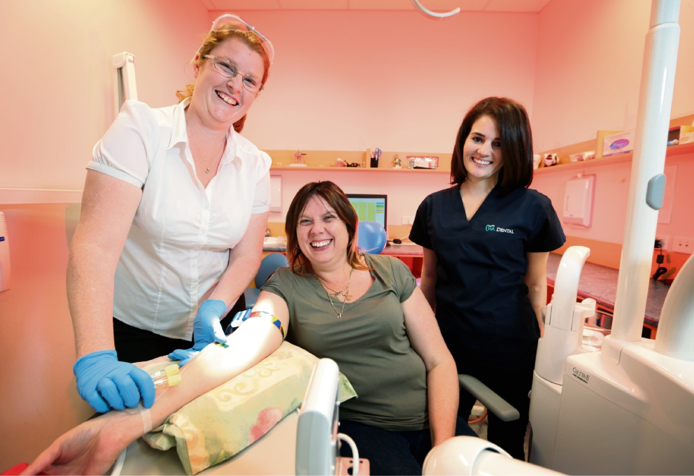Rebecca Ford (volunteer nurse from the Red Cross Blood Service), Kara Ringland of Ellenbrook (organiser of the bone marrow drive for Kai) and Lesley Moffat (Dentist at WA Dental).