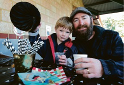 Coleman Gillane of Bullsbrook with his son Eoin (4) at the Father's Day breakfast at St Helena's Catholic Primary School in Ellenbrook. Picture: David Baylis