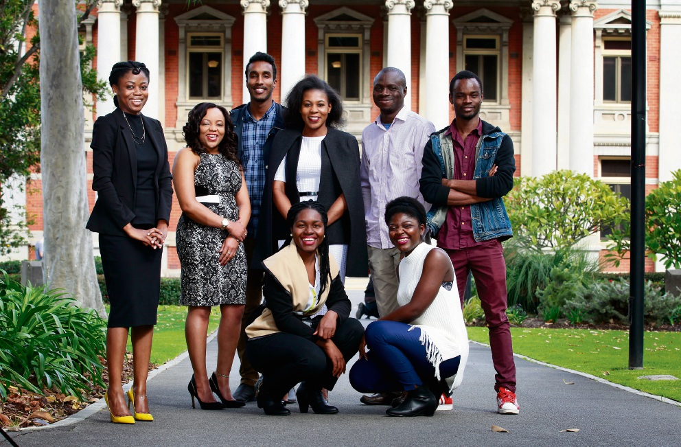 L-R: Violet Arrey (lawyer), Njeri Waithaka (finance/accounting), Ismail Omar (financial auditor), Mai Kutsanzira (law graduate), Julius Olayiwola (consultant accounting, media branding), Musa Kamara (student) and sitting in front sisters Kelly and Delmina Tabi (both nursing students). Picture: Marie Nirme
