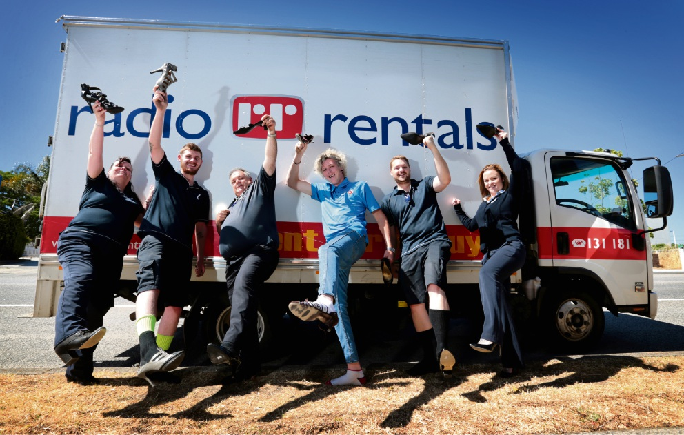 Angie Deckelmann, Ethan Cousins, Chris Walker, Kane Watts, Dan Brkovic and Hayley Amundsen will all put their best feet, heels and shoes forward for the 'walk in her shoes' for White Ribbon Day today. Picture: David Baylis www.communitypix.com.au   d462232