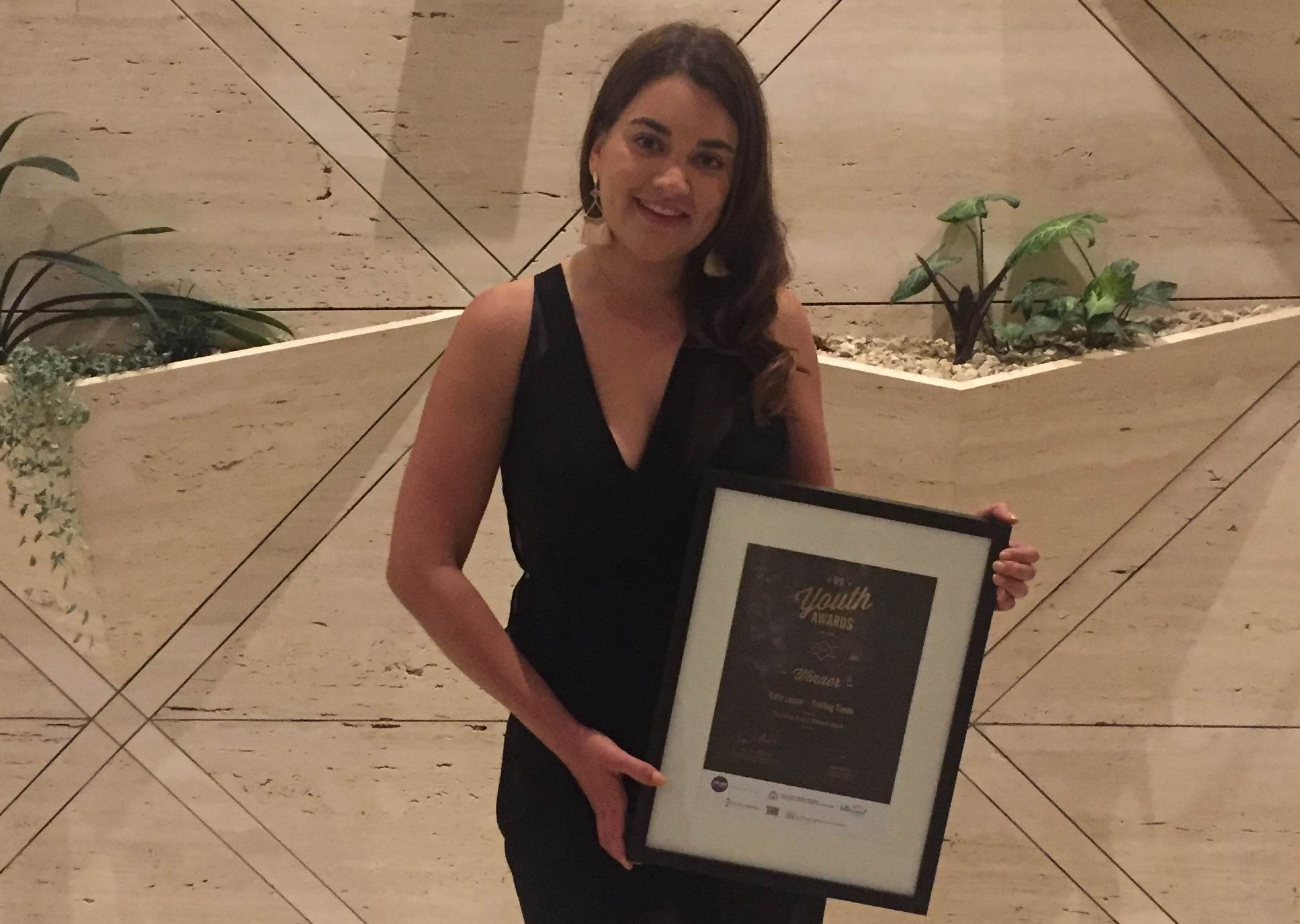 Kate Leaver with her WA Youth Award.