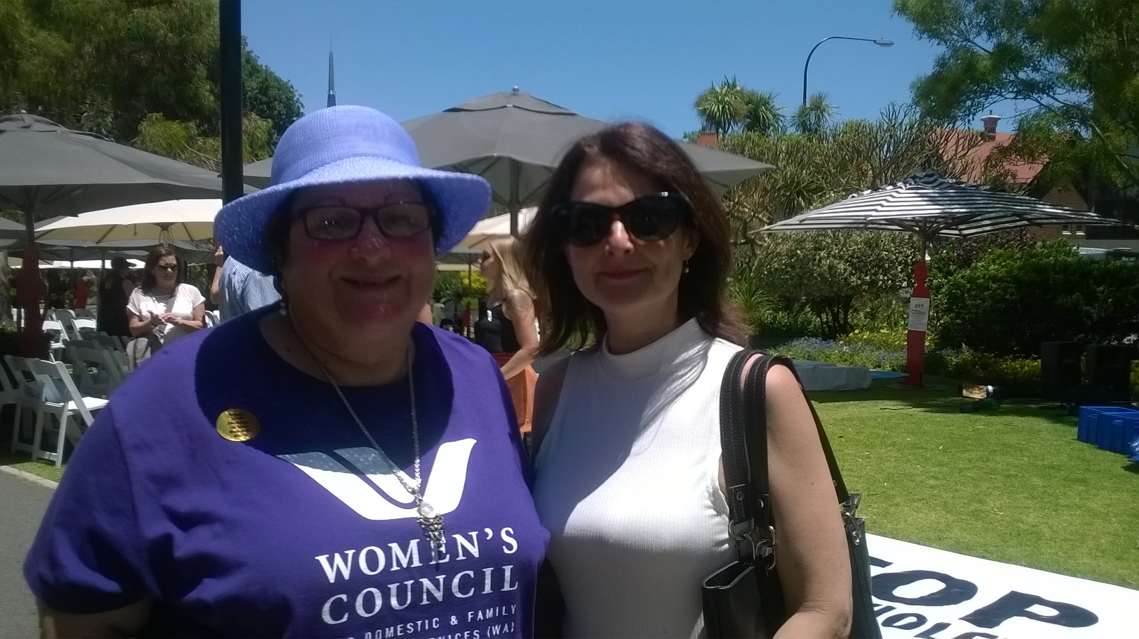 Alison  Xamon with Women's Council for Domestic and Family Violence Services  chief executive  Angela Hartwig.