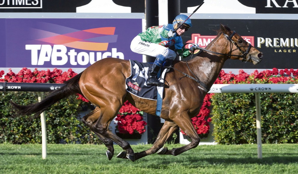 Douglas Whyte wins on Scales of Justice in the Railway Stakes. Picture: Western Racepix