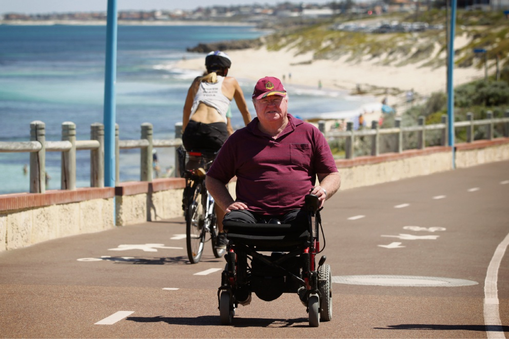 Wheelchair user Graham Edwards is concerned about cyclists speeding down shared paths at Mettams Pool. Picture: Andrew Ritchie