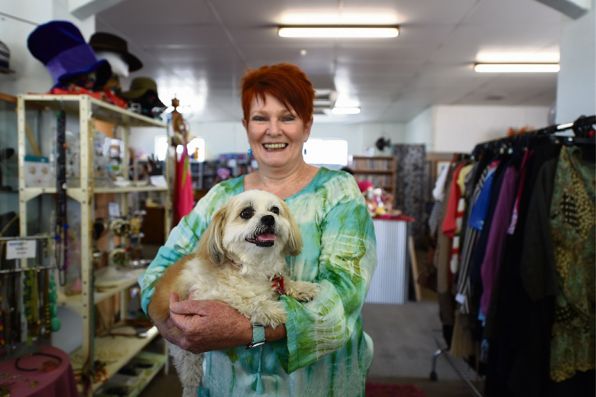 Trish Bradshaw, with dog Katy Perry, loves volunteering at the RSPCA's Palmyra op shop. Picture: Jody Hua