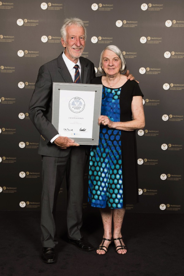 Entopia Wines owners Brian and Heather Hunt took home second place at the 2016 Perth Airport Tourism Awards.