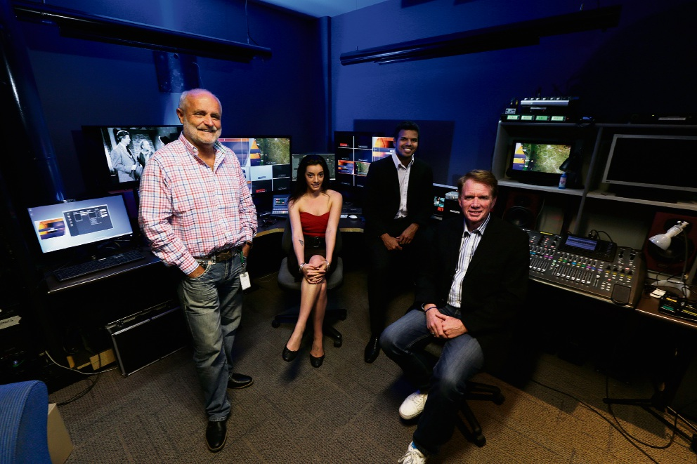 L-R Tibor Meszaros (General Manager WTV), Krystel-Ann Evans (Weather Presenter), Warren Masilamony (Technical Director of News) and Russel Goodrick (Executive Producer ). Picture: Andrew Ritchie www.communitypix.com.au d461015