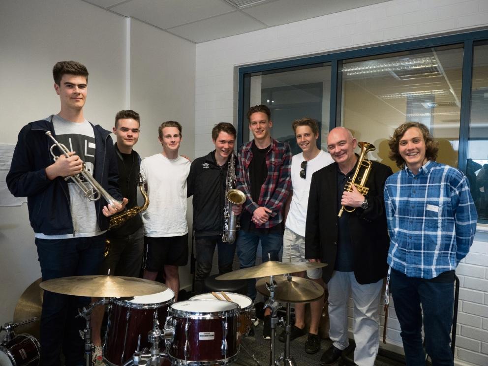Jazz legend James Morrison jams with Carey Baptist College