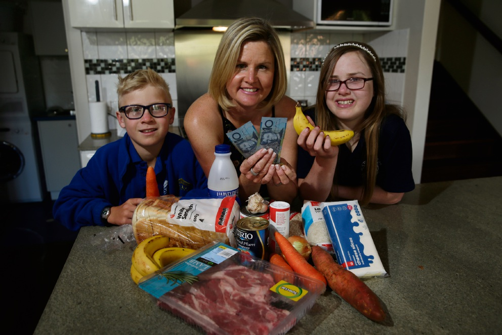 Marcus Seydel (9) with mum Belinda Seydel and Genevieve Seydel (13). Picture: Andrew Ritchie
