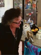 Amanda Payne with an owl.