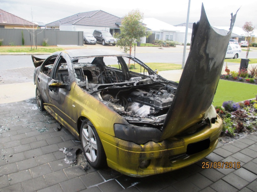 Caption: A Ford Falcon was gutted by fire in Baldivis on Sunday.