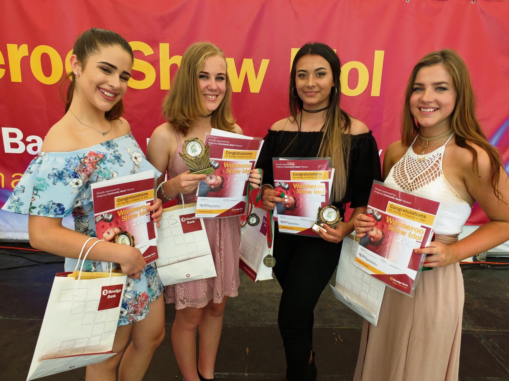 2016 Wanneroo Show Senior Idol winner and runners-up: Jayda D'Agostino (13), Isobel Green (13) Idol winner, Ashley Brown (15), and Claudia Harrison.
