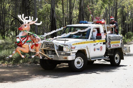 The Mt Helena Voluntary Bush Fire Brigade will escort Santa Claus on his deliveries.