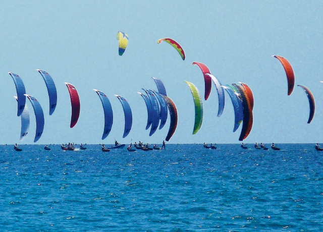 Hydrofoil competitors in action off Rockingham during the pro tour this week. Picture: John Wheatley