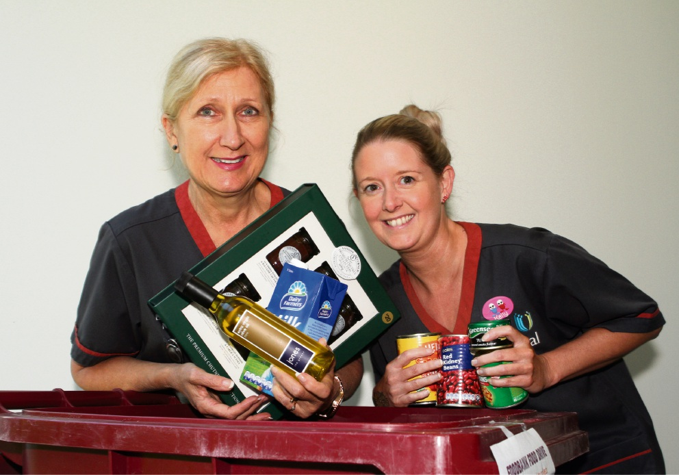 Fiona Stanley Hospital nurses Andrea Boatwright and Kelly Webster donate food to the Foodbank WA appeal. Picture: Robin Kornet        www.communitypix.com.au   d462594