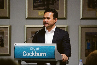 Peter Bell speaking at the City of Cockburn awards.