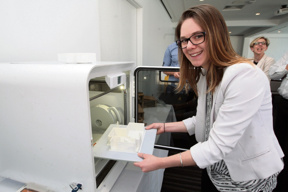 Megan Gobey demonstrates 3D printing. Pictures: Bruce Hunt