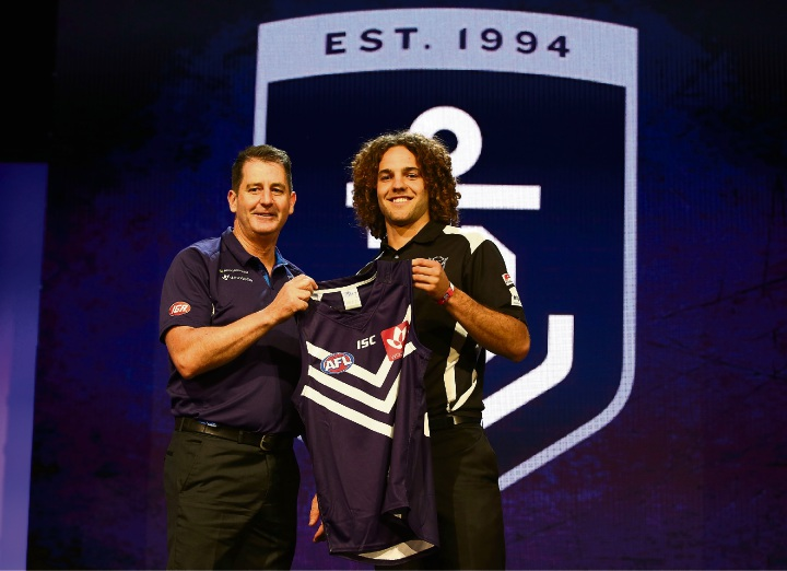 Dockers coach Ross Lyon with Griffin Logue.